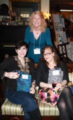 Joshilyn Jackson (bottom right) at the Dahlonega Literary Festival Author Reception along with fellow author Deanna Raybourn (bottom left) and DLF committee chair, Arienne Wallace (top)